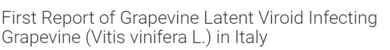First Report of Grapevine Latent Viroid Infecting Grapevine (Vitis vinifera L.) in Italy
