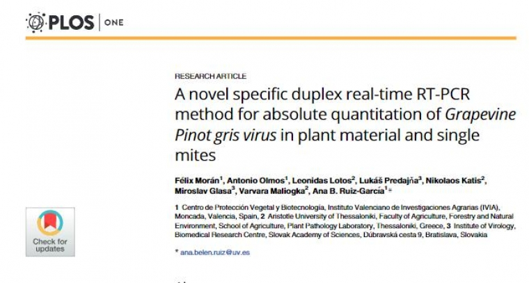 A novel specific duplex real-time RT-PCR method for absolute quantitation of Grapevine Pinot gris virus in plant material and single mites